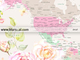Printable world map with cities, pastel florals, large 36x24""