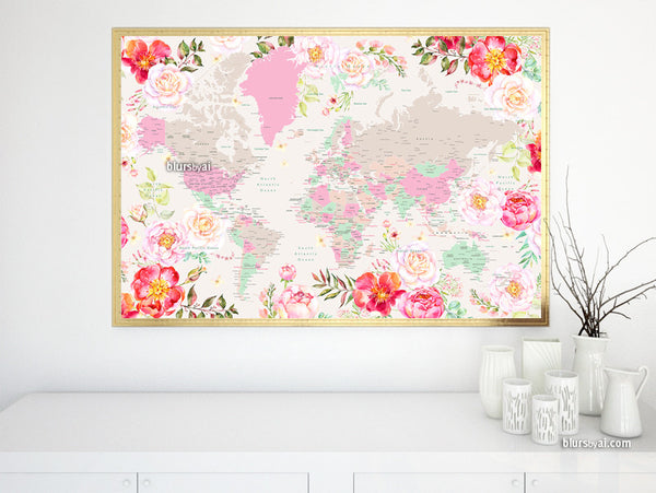 Printable world map with cities, featuring gorgeous pastel florals, large 60x40""