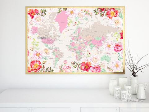 "Floral pastel world map art print. ""Flor"""
