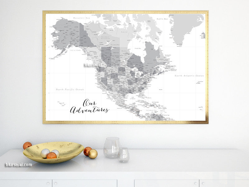 Printable North America map with cities, grayscale, highly detailed map in 36x24""