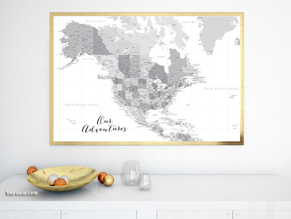 North America Map Countries And Capitals.Personalized Map Highly Detailed North America Printable With
