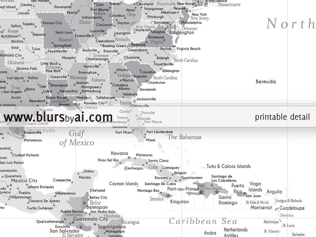 printable north america map with cities grayscale no quote