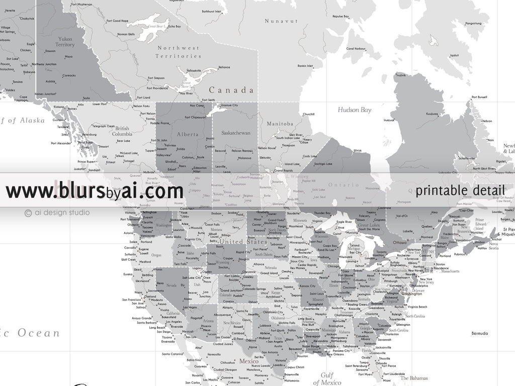 Detailed Map Of America.Printable North America Map With Cities Grayscale No Quote Highly Detailed Map In 36x24