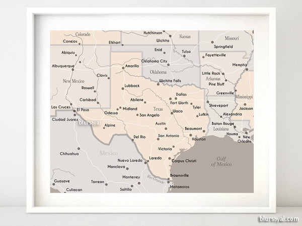 "Printable Texas map with main cities in light earth tones, 10x8"" & 20x16"""
