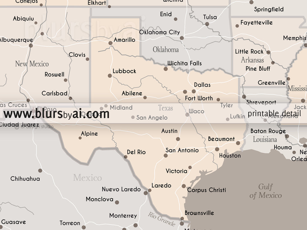 Printable Texas map with main cities in light earth tones, 10x8\