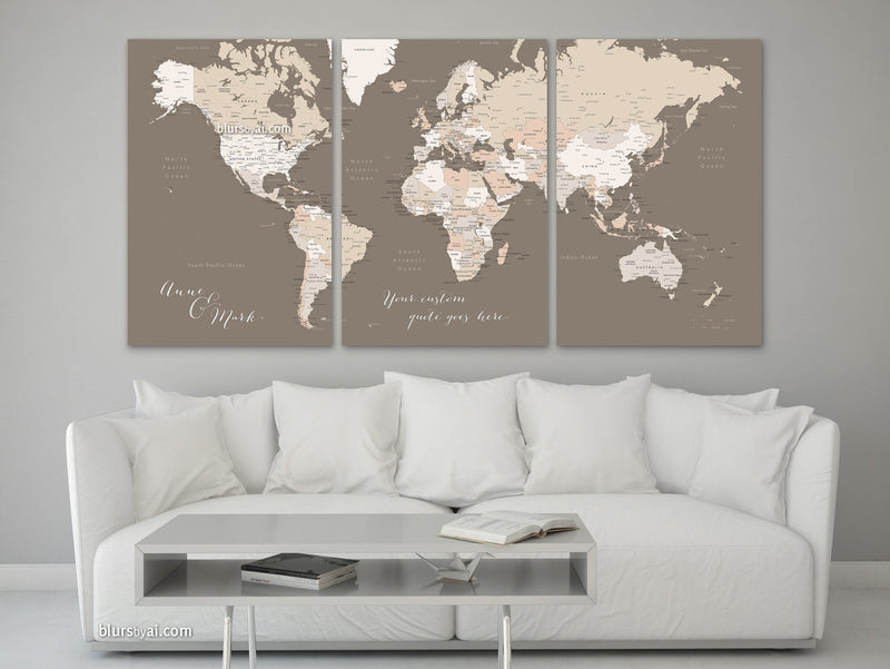 "Printable customized world map with cities, split in 3 panels. ""Earth tones"""