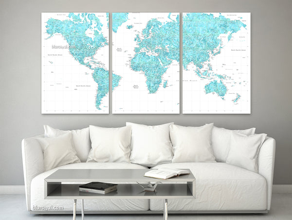 "Multi panel world map canvas print or push pin map, highly detailed world map with cities. ""Peaceful waters"""