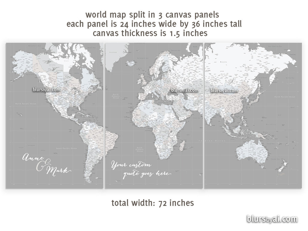 "Custom quote - Set of 3 canvas prints or push pin maps - Multi panel, highly detailed, world map with cities. ""Hugh"""