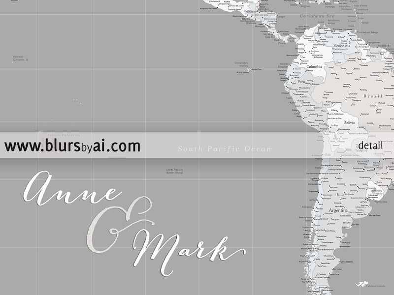 Custom color and quote set of 3 canvas prints - Multi panel world map canvas print or push pin map, highly detailed world map with cities.