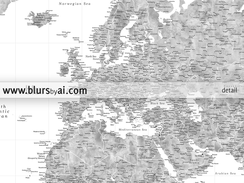 "Multi panel world map canvas print or push pin map, highly detailed world map with cities in grayscale watercolor. ""Jimmy"""