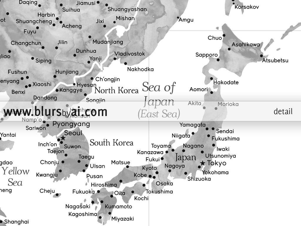 Multi panel world map canvas print or push pin map, highly detailed ...