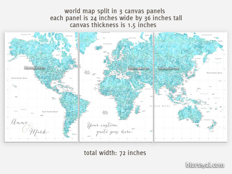 "Custom quote - Set of 3 canvas prints or push pin maps - Multi panel, highly detailed, aquamarine world map with cities. ""Peaceful waters"""