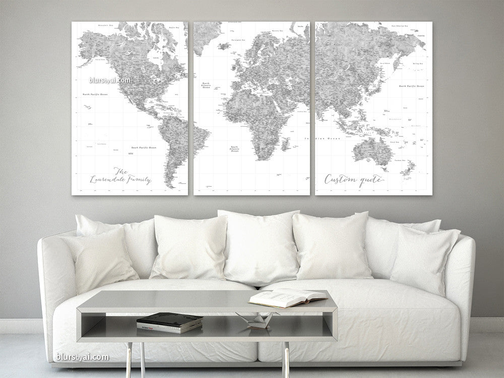 Personalized, large and detailed world map canvas print or push pin map. Grayscale watercolor for this highly detailed world map with many cities