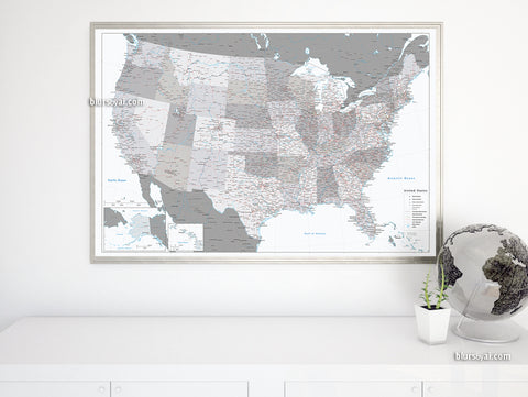 "Personalized US map print: highly detailed map of the US with roads. ""Brennan"""