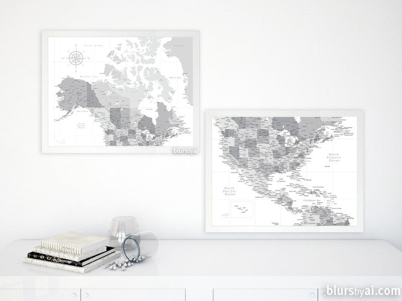 Set of two printable North America maps: US, Canada and Caribbean region - For personal use only
