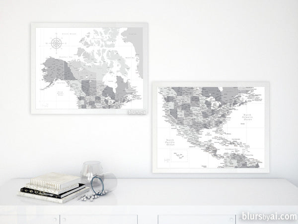 Set of two printable North America maps: US, Canada and Caribbean region