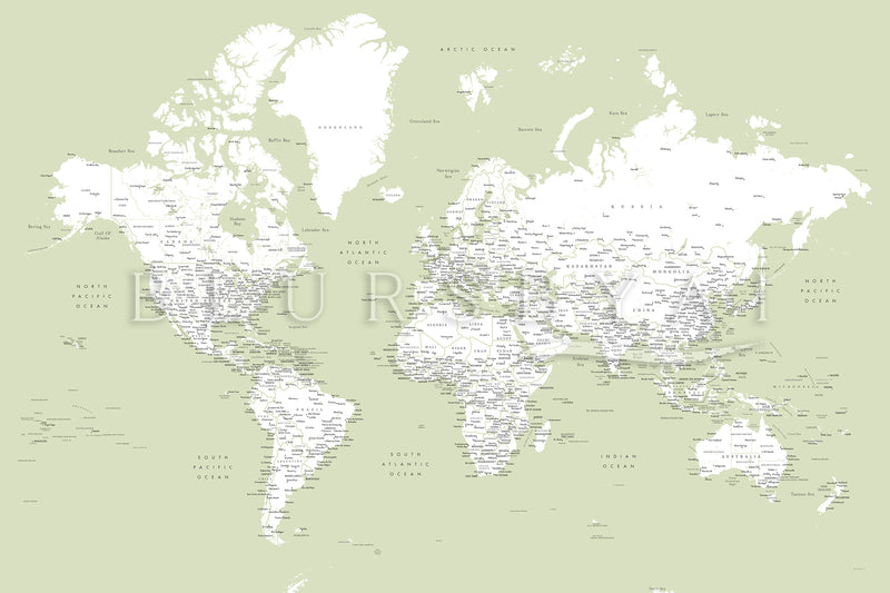 Custom world map with cities and US state capitals, canvas print or push pin map. ALL COLOR CHOICES.