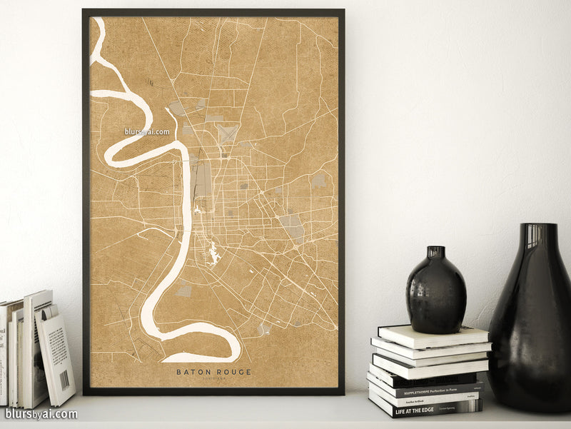 Printable map of Baton Rouge, Louisiana, in vintage distressed style