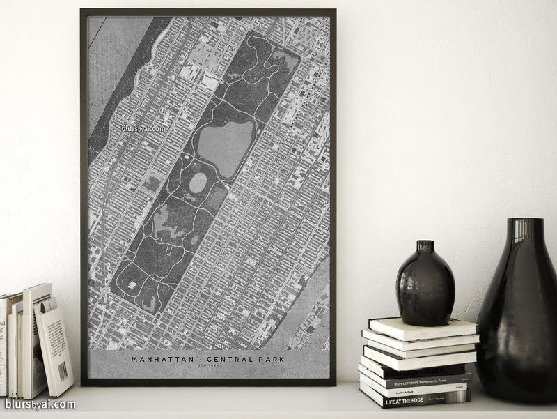 Printable map of Manhattan and Central Park in vintage black and white - For personal use only