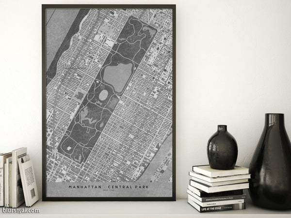 Printable map of Manhattan and Central Park in vintage black and white