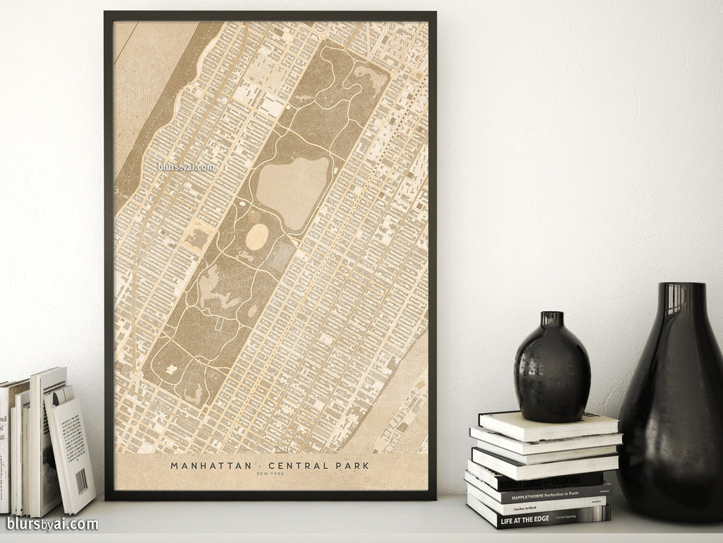 Printable map of Manhattan and Central Park New York in vintage style