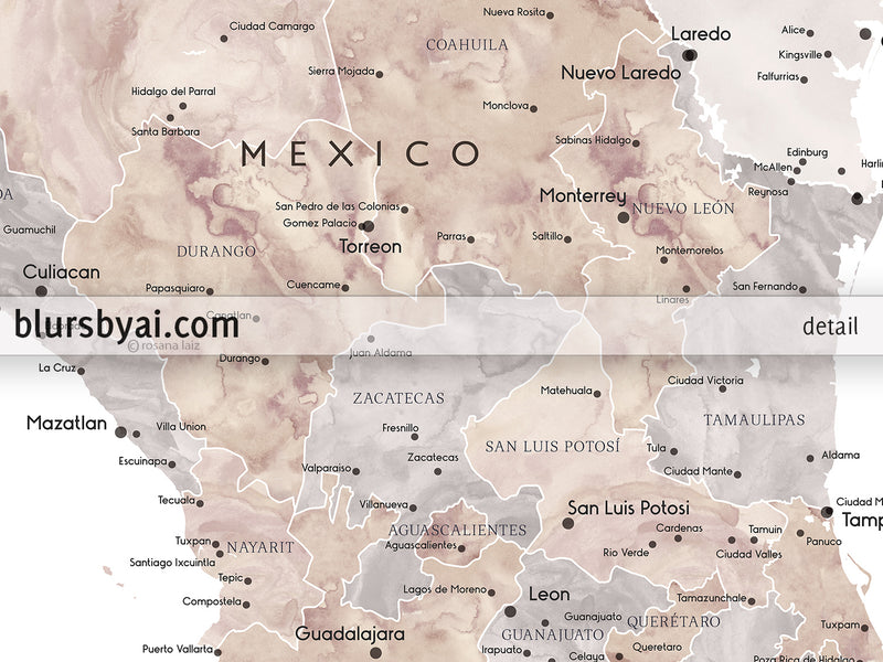 "Personalized PRINTABLE map of Mexico, ""Abey"", edit-it-yourself using CORJL - Instant download for PERSONAL USE"