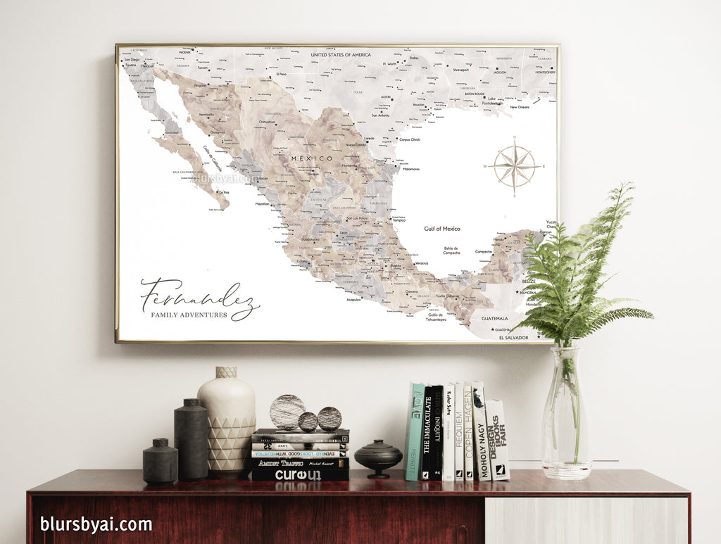 "Custom map print of Mexico in neutral watercolor. ""Abey"""