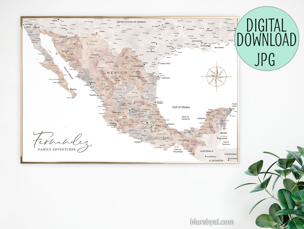 "Custom quote - neutral watercolor PRINTABLE map of Mexico with cities, ""Abey"""