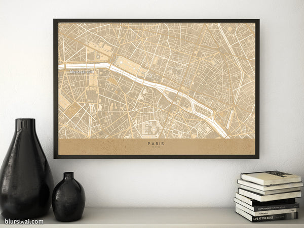 Printable map of Paris, France, in sepia vintage style