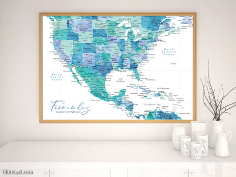 "Personalized map print: USA, Mexico and the Caribbean Sea in turquoise watercolor. ""Peaceful waters"""