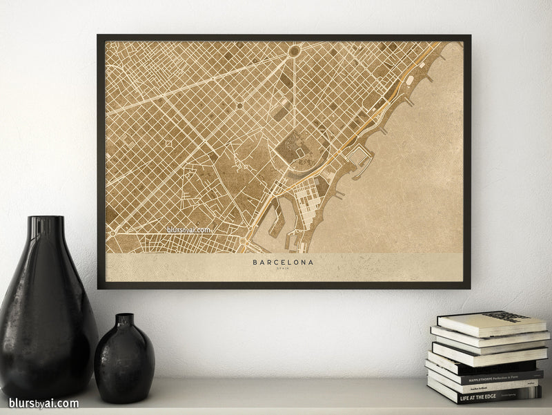 Printable map of Barcelona, Spain, in sepia vintage style - For personal use only