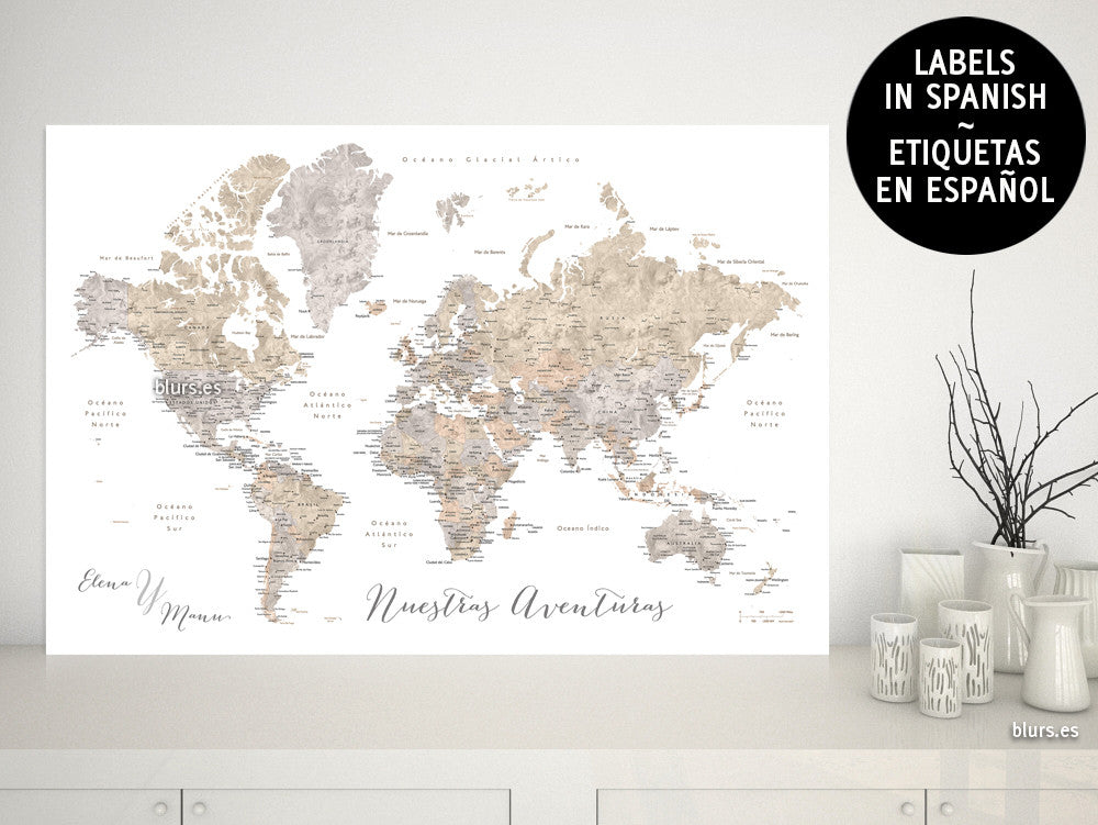 "Custom quote - neutral watercolor printable world map with cities, capitals, countries, US States... labeled in Spanish. ""Abey"""