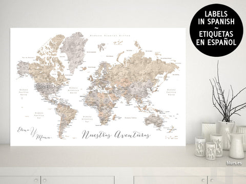 Printable World Maps With Labels In Spanish Blursbyai - World map and labels