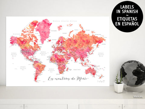"Custom quote - hot pink watercolor printable world map with cities, capitals, countries, US States... labeled in Spanish. ""Tatiana"""