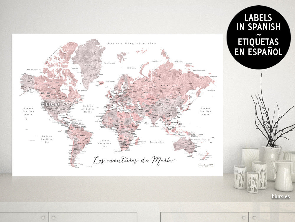 Custom quote watercolor printable world map with cities custom quote watercolor printable world map with cities capitals countries us states gumiabroncs Gallery