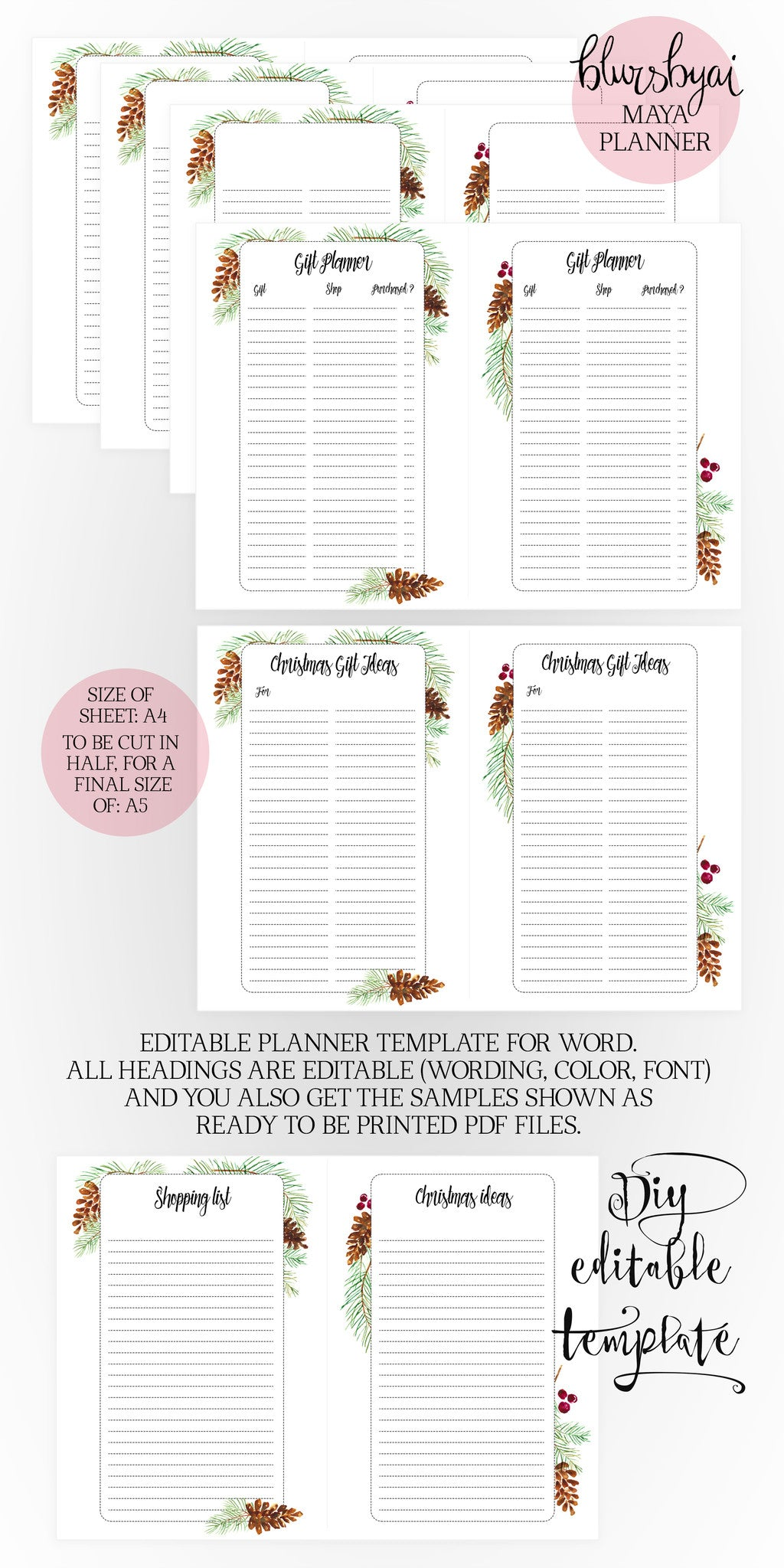 A5 Printable planner. Editable planner template for Word and ready to be printed PDFs. Winter holiday edition. The Maya planner