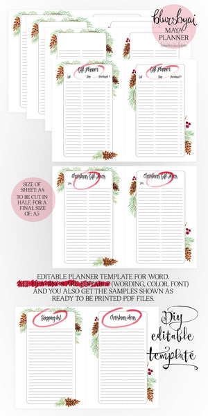 A5 Printable planner. Editable planner template for Word ...