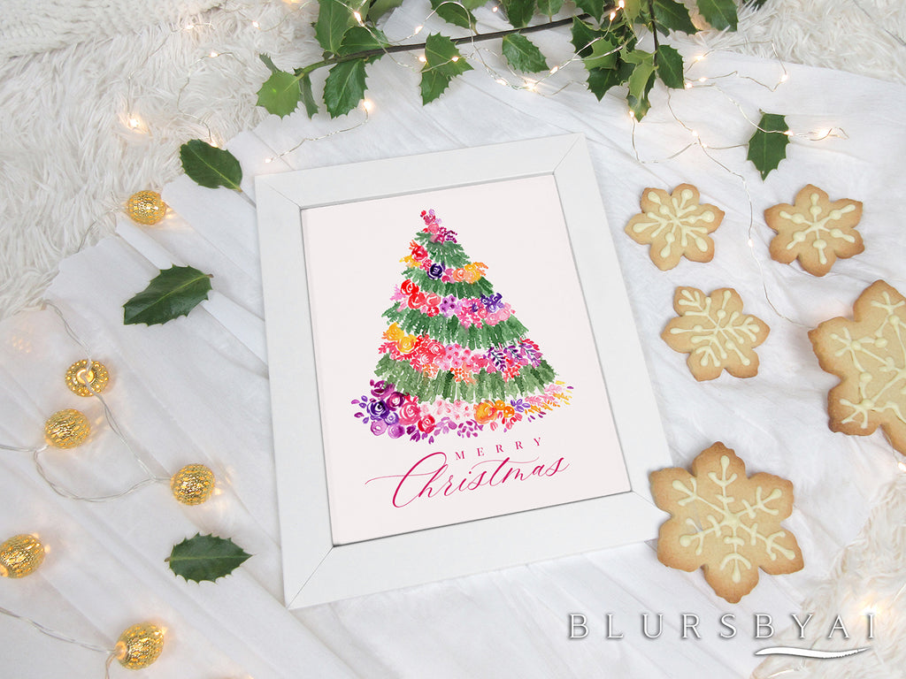 Printable holiday decoration: Floral Christmas tree watercolor illustration - Personal use