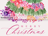 Printable holiday decoration: Floral Christmas tree watercolor illustration
