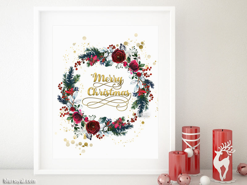 Printable Christmas decorations: Merry Christmas red floral wreath