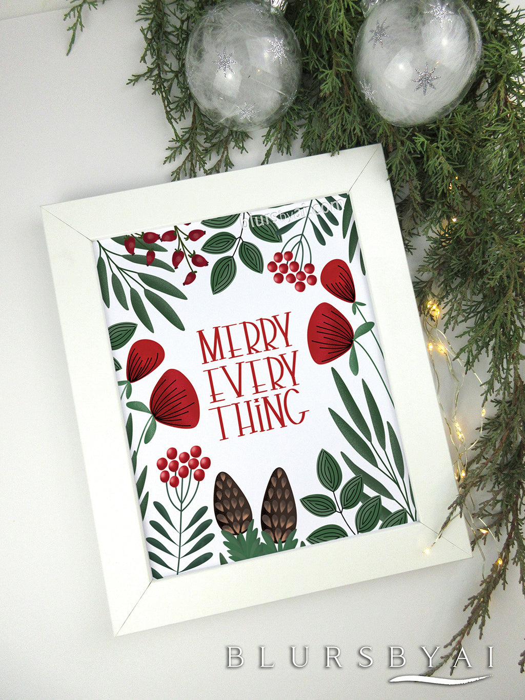 Printable holiday decoration: Merry everything in scandinavian style - Personal use