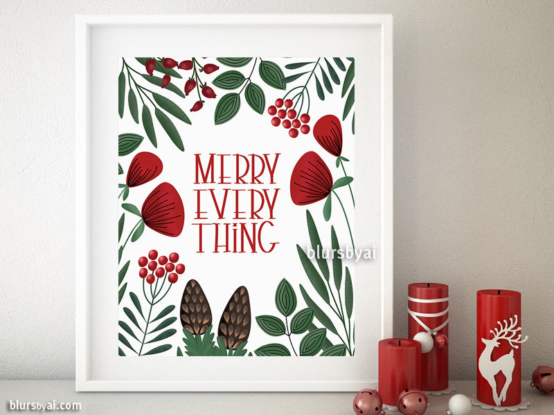Printable holiday decoration: Merry everything in scandinavian style
