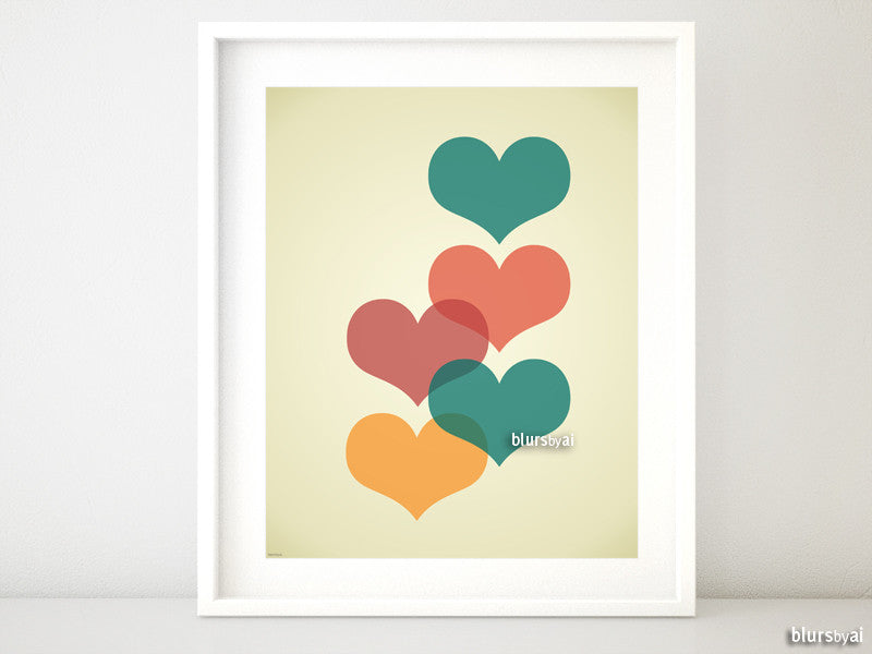 Mid century modern printable art featuring colorful hearts - Personal use