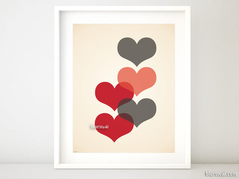 Mid century modern printable art featuring red and maroon hearts