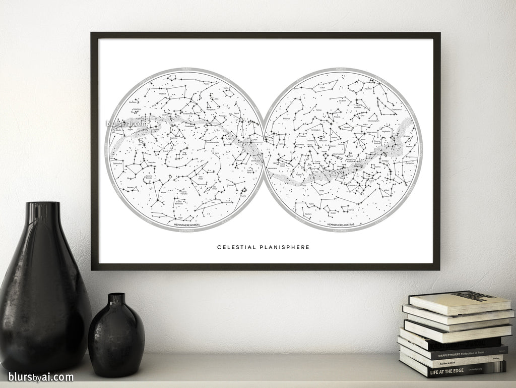 Large map of the sky with constellations, art print in white