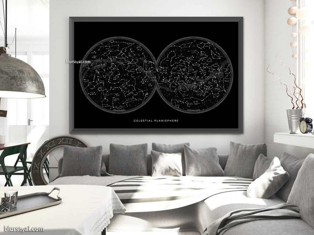 Large map of the sky with constellations, art print in black