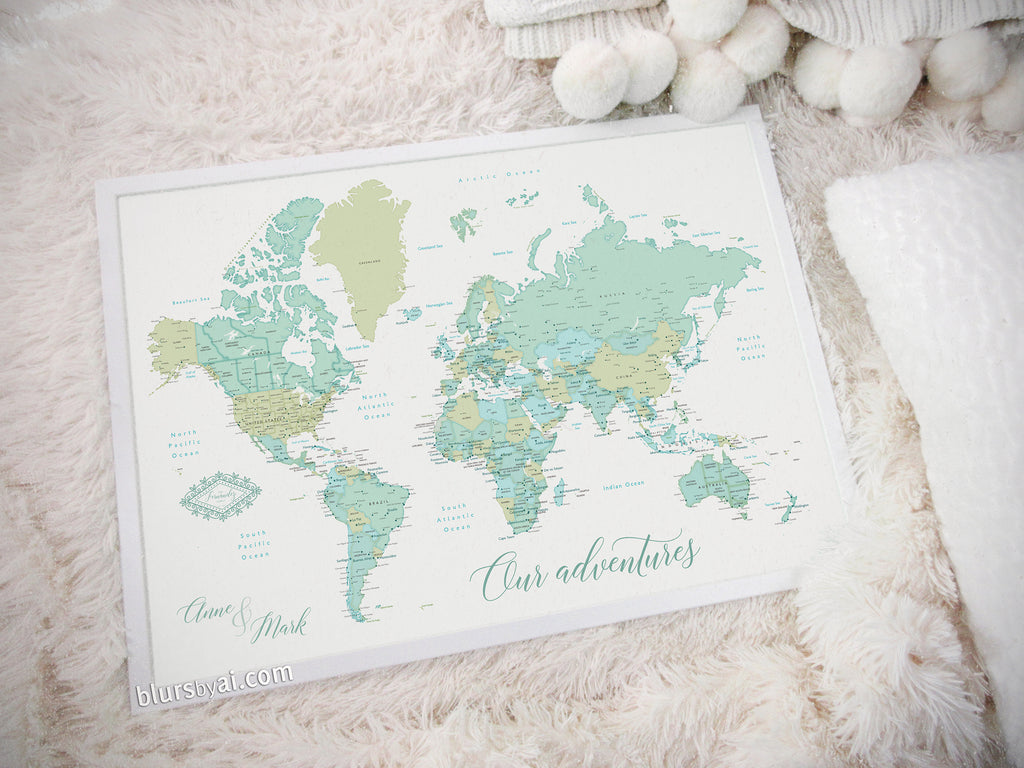"Art print on paper: custom world map with cities in dreamy mint and green. ""Ninfa"""