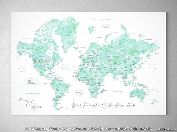 "Personalized world map with cities, canvas print or push pin map in mint watercolor. ""Desie"""