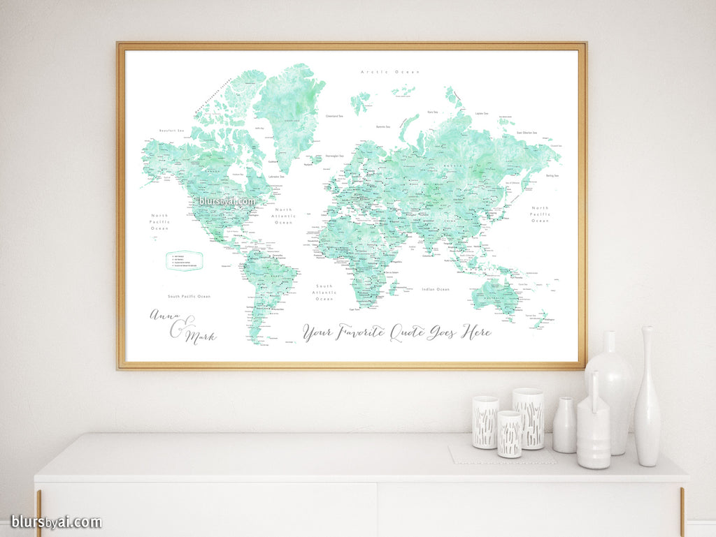 "Custom print: world map with cities in mint watercolor. ""Desie"""