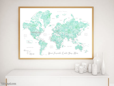 "Personalized print: world map with cities in mint watercolor. ""Desie"""
